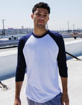 Unisex Poly-Cotton 3/4 Sleeve Raglan T-Shirt
