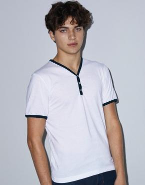 T-shirt Unisex V-neck Ringer Poly-Cotton