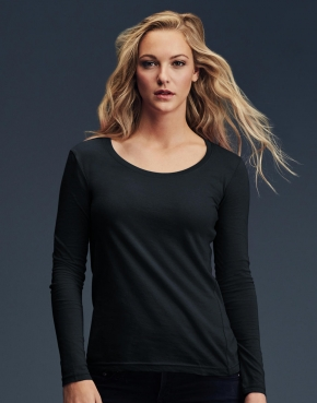 Ladies Sheer LS Scoop Tee