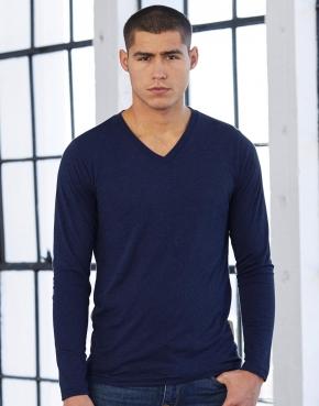 Camiseta cuello V manga larga Triblend