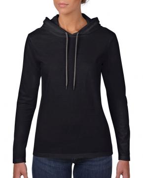 Camiseta con capucha manga larga básica mujer
