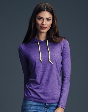 Dámské tričko Fashion s kapucí a dlouhými rukávy