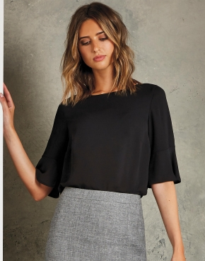 Regular Fit Fluted Sleeve Top