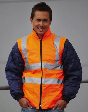 Hi-Vis Quilted Jacket with Zip-Off Sleeves