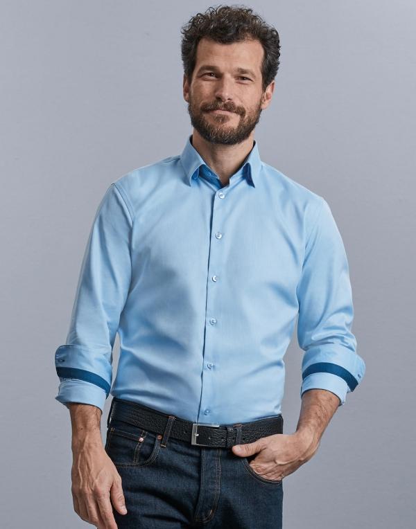 Tailored Contrast Herringbone Shirt LS
