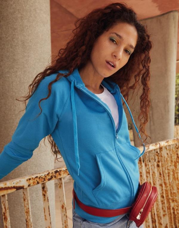 Chaqueta entallada con capucha ligera mujer