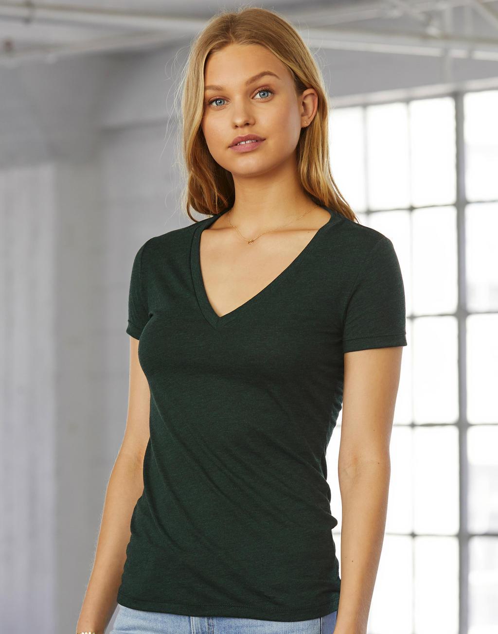 5a94aa30936b Dámske tričko Triblend s hlbokým V-výstrihom